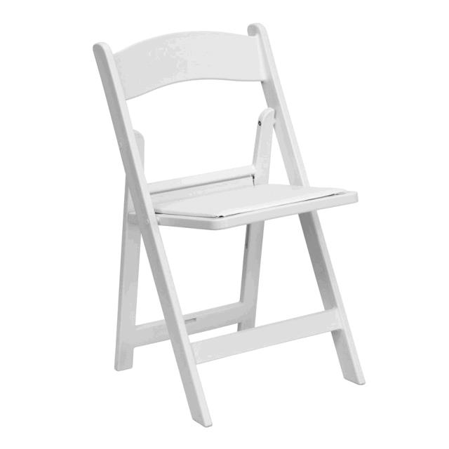 Where to find WHITE RESIN CHAIR WITH PAD - FOR SALE in Cleveland