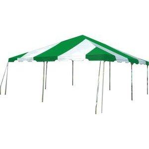 20 Foot X 20 Foot Pole Canopy Green Stripe Rentals